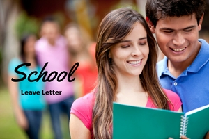 school leave letter written on a background of college students